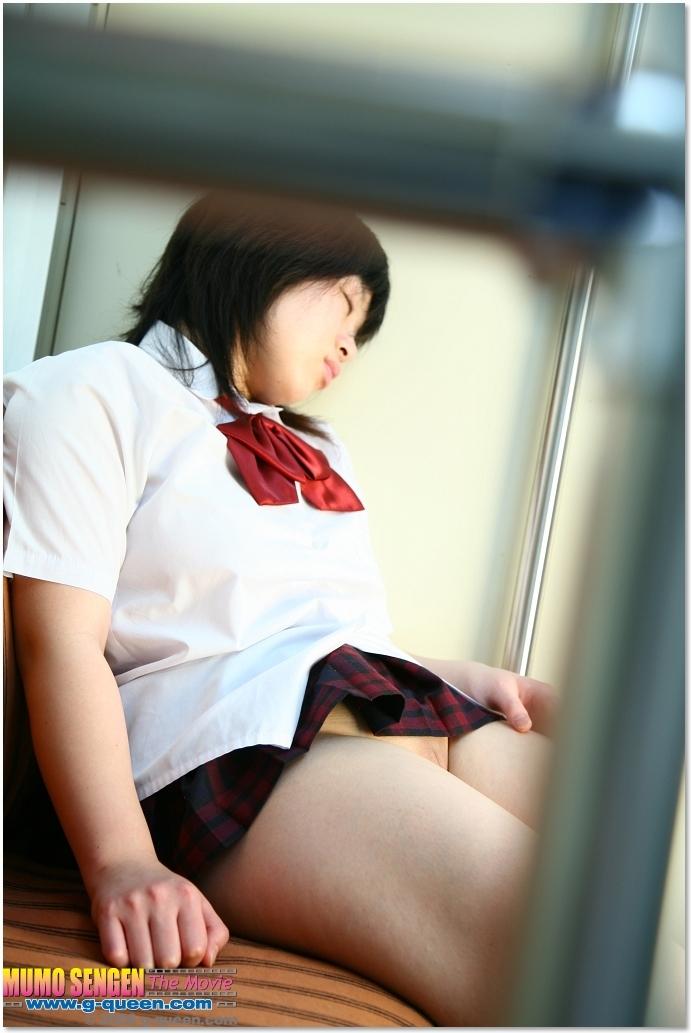 Cute japanese schoolgirl on train 6
