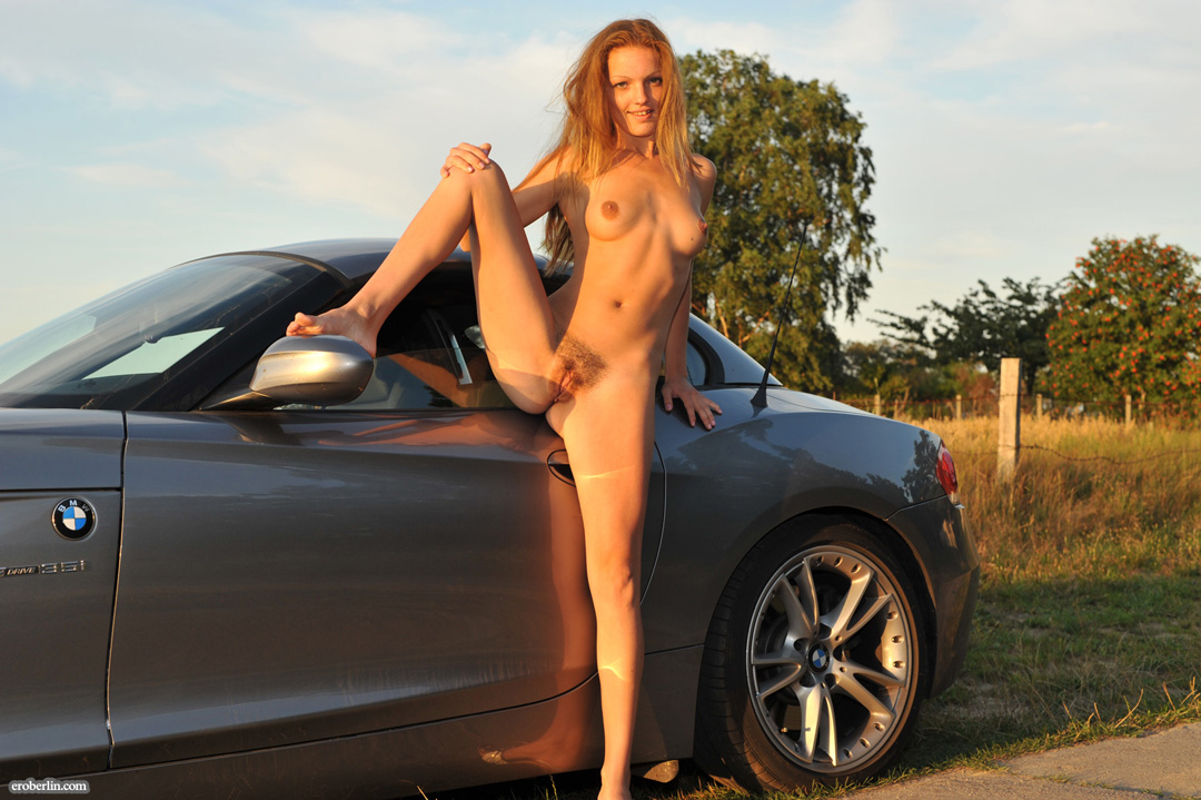 Chevrolet camaro and hot blonde topless in sexy black panties and high heels wallpapers