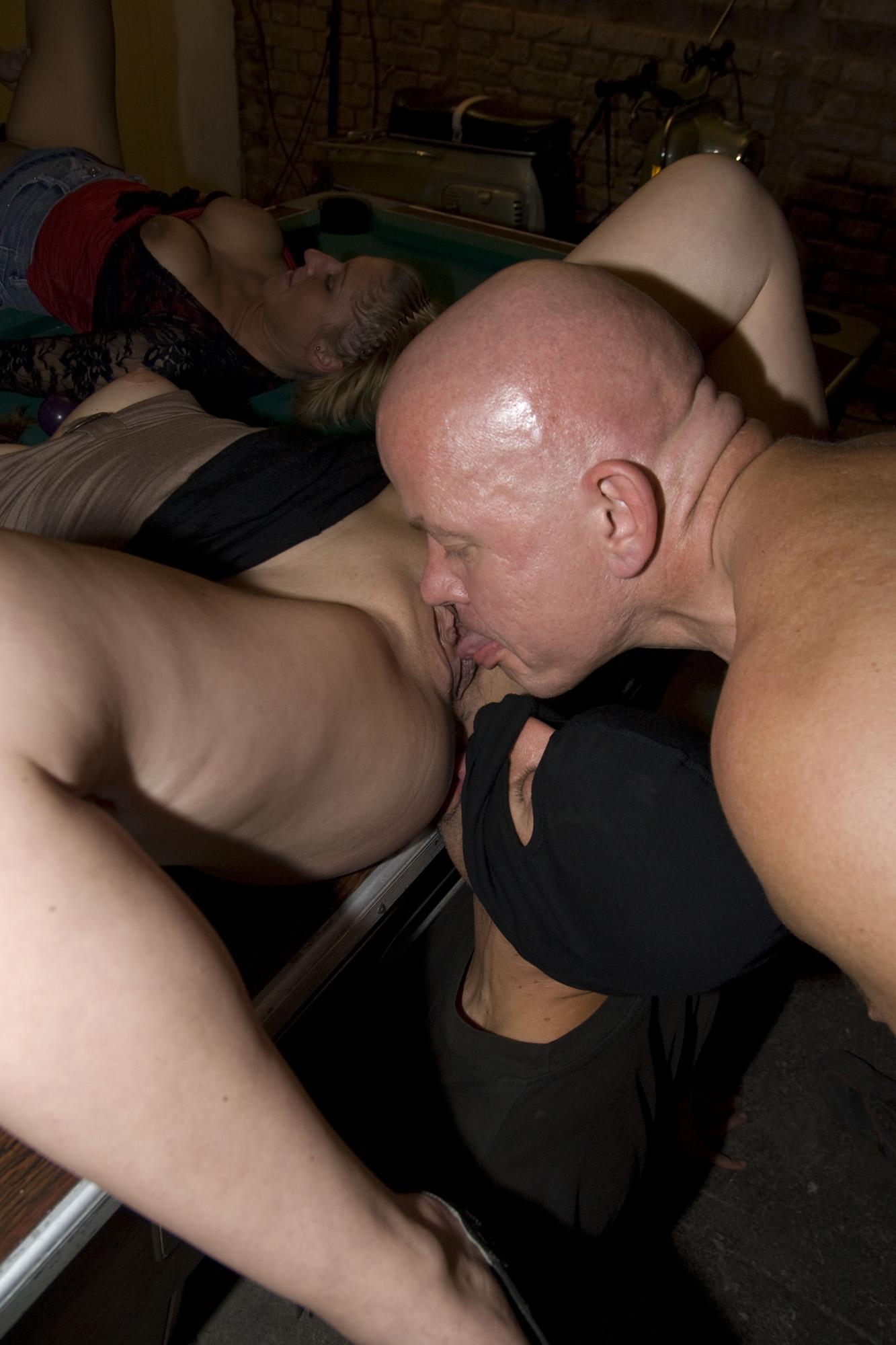 image Amateur table gangbang and shower anal