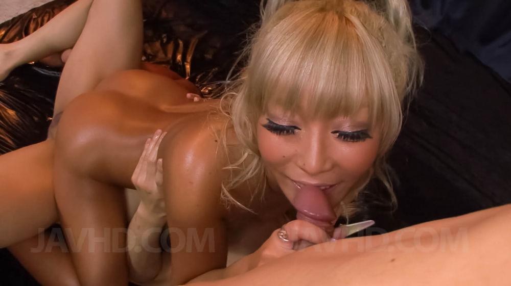Blonde asian girl threesome