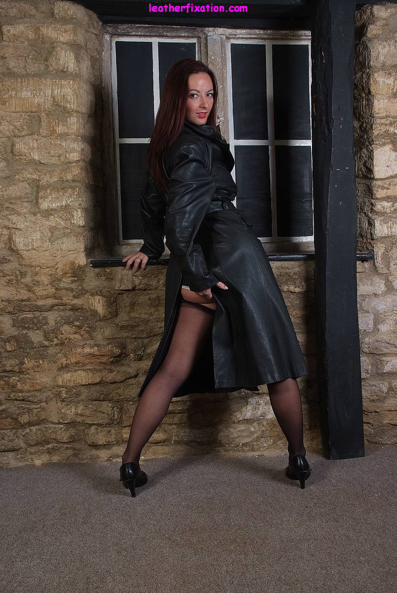 Milf in pvc coat amp leather lace up basque - 1 2