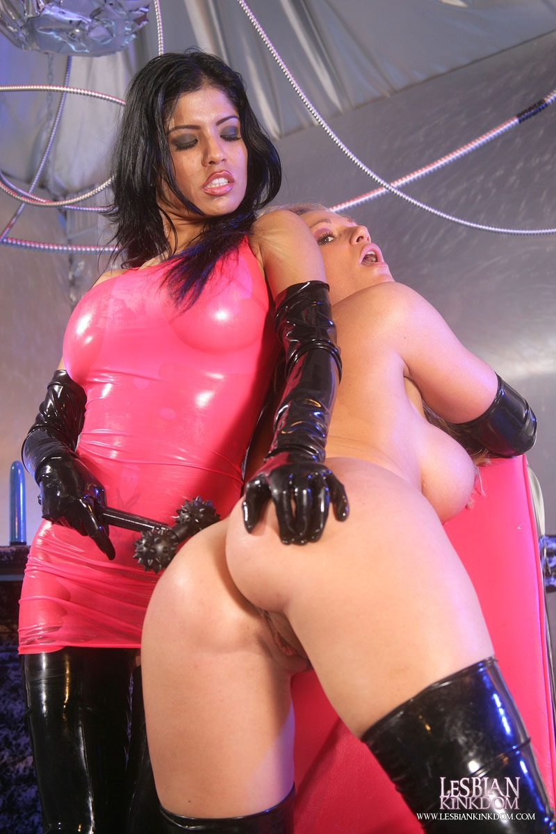 image Hot lesbians in latex dildo fucking their pussies
