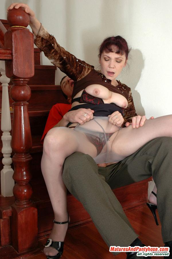 Big breasts mature woman in pantyhose having hardcore sex