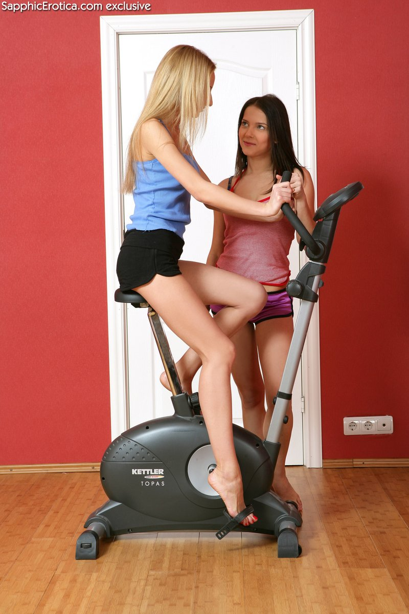 Naked on exercise bike share your