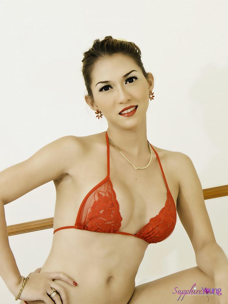 Tranny red bikini