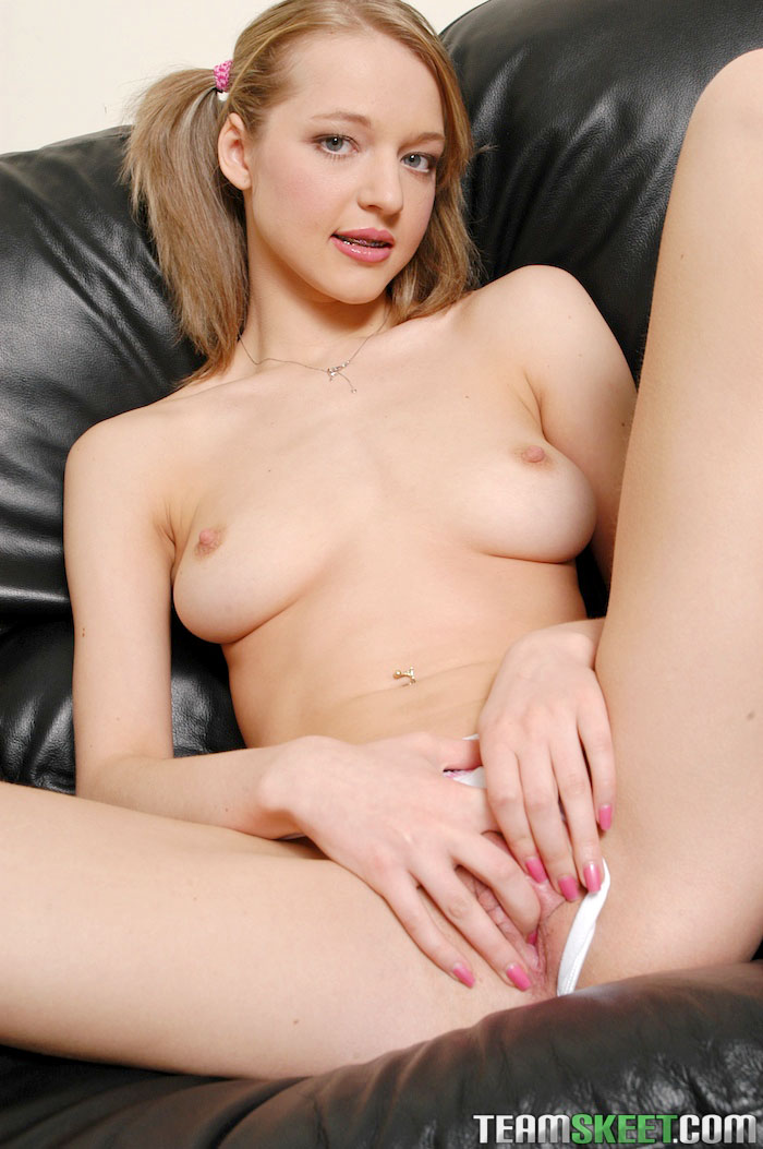 skinny blonde teen braces