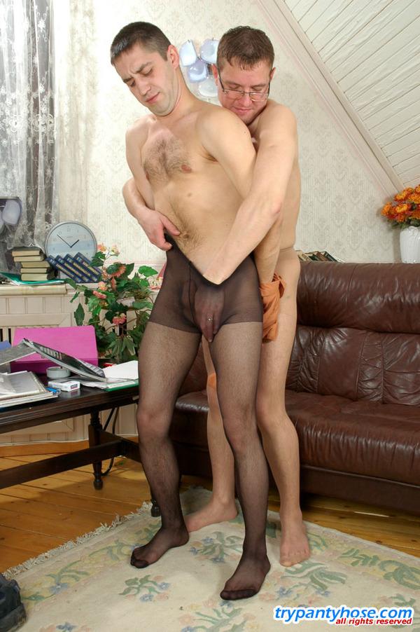 Nude men wearing pantyhose