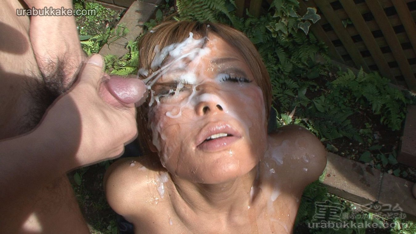 Naked tan girl with cum on her