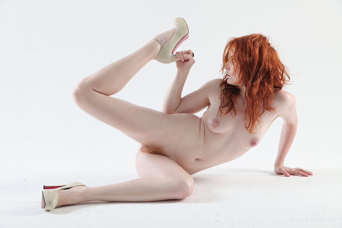Pale Redhead Teen Barbara Babeurre Slips Off Her White Dress To Model Naked